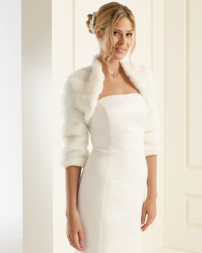 Faux fur bridal shrug