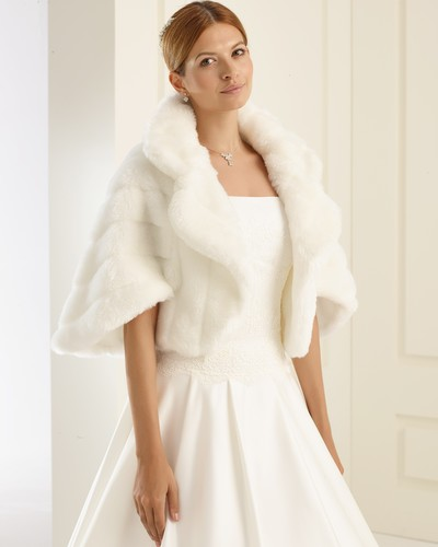Ivory Faux Fur Hooded Cape